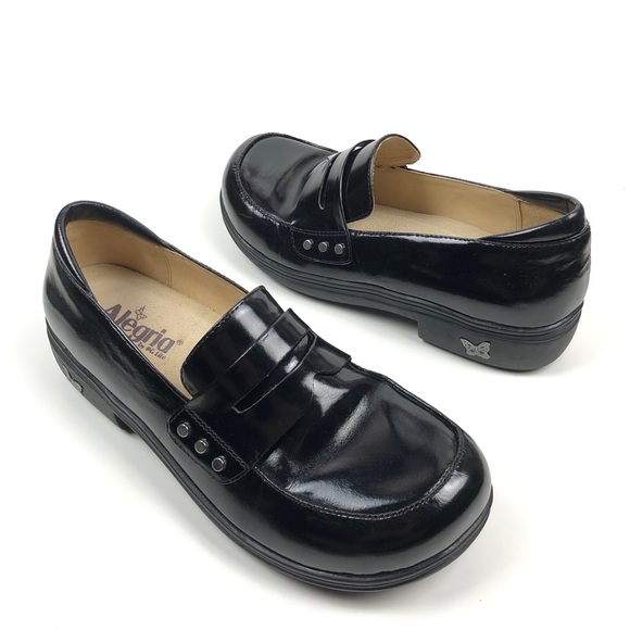 ALEGRIA BLACK LEATHER SLIP ON LOAFERS SIZE 40